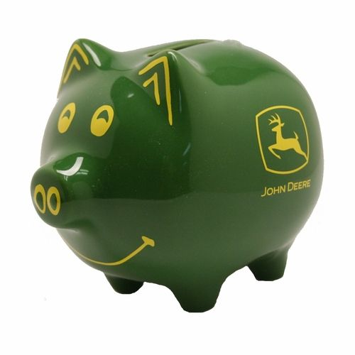 This classic piggy bank has a John Deere Twist to it. This John Deere piggy bank is all green with yellow painted eyes, ears, nose, mouth and tail.
