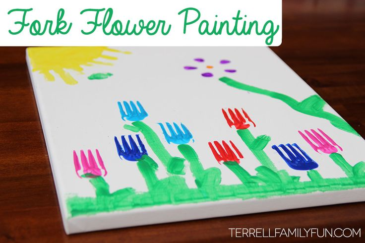 Painting With Forks Fork Tulip Flowers Kids Crafts