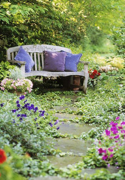 Quiero un banco así en medio el jardín