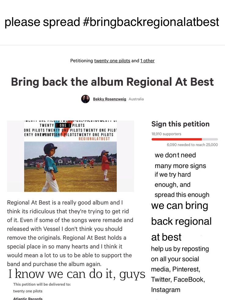 #bringbackregionalatbest SIGN HERE: https://www.change.org/p/fueled-by-ramen-twenty-one-pilots-bring-back-the-album-regional-at-best Please help us spread this everywhere! We can do it!