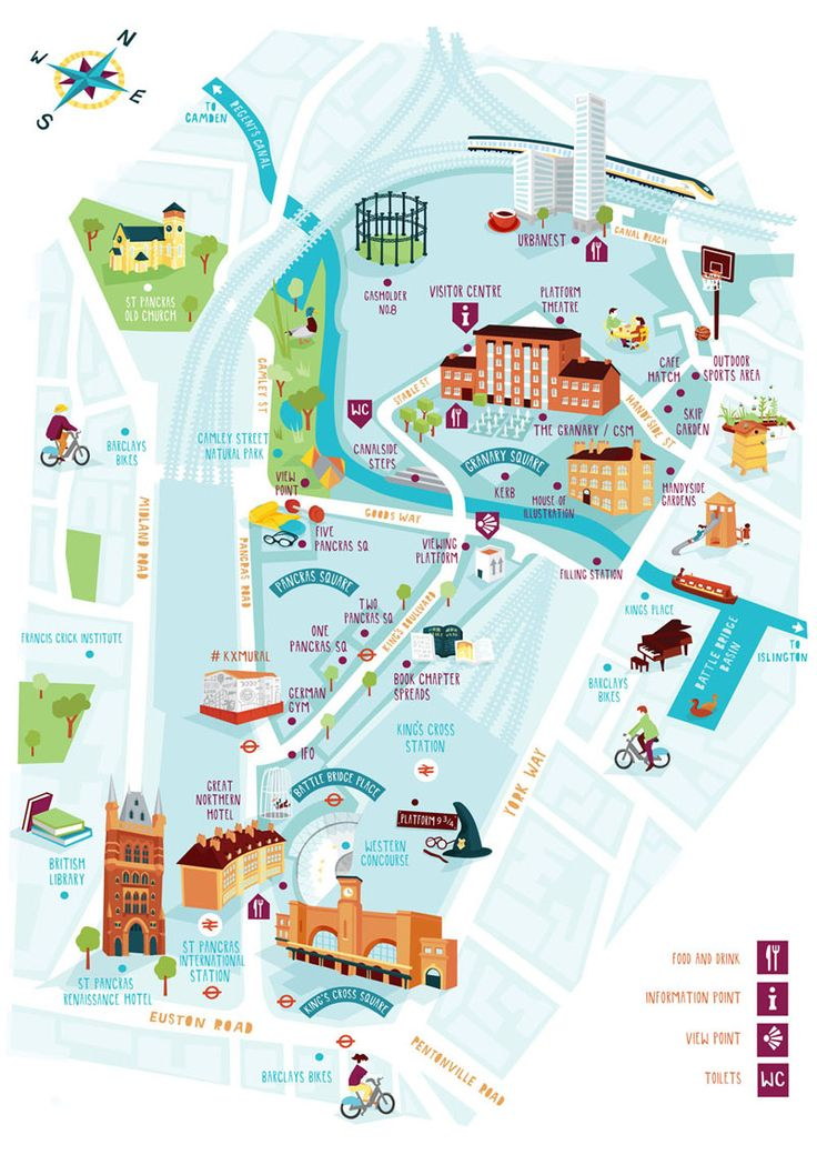 Earlier this summer I worked with the guys at the new Kings Cross developments to create this map illustration for a walking guide. The printed walking guide features lots of the new buildings that are popping up all over the Kings Cross area as well as older landmarks and lots of food and drink outlets. You can pick up a free copy of the guide at the tourist information point at Granary Square.