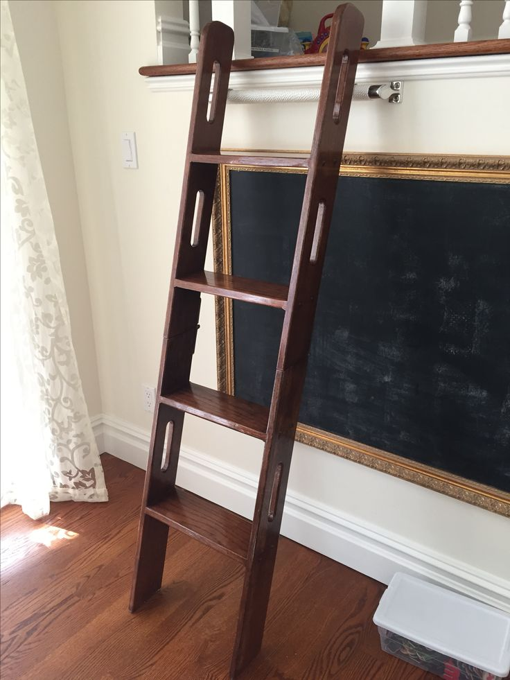 ... Woodworking, Furniture, Oak, Handcrafted, Painted, Indoor Ladder,  Tapered, Wood Ladder, Wooden, Rolling Ladder, Closet, Office, Kitchen,  Storable, ...