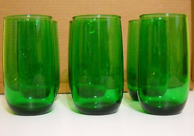 """Vintage Set Of 6 Anchor Hocking Glass  Forest Green  Glasses 5"""" Tall"""