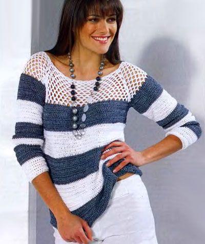 полосатый пуловер с сетчатой кокеткой » Петля - вязание на все случаи жизни!