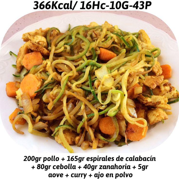 Hora de comer Espirales de calabacín (mercadona) Zanahoria Cebolla Pollo Aceite de oliva Curry y ajo el polvo Cuenta Personal @joselu_zapata