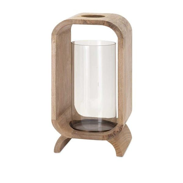 "IMAX Quinn Wood Candle Holder. Don'¬""¢t blow your stack searching for just the right contemporary candleholder. We'¬""¢ve got it right here, rendered in natural wood with a glass hurricane and a small chimney to allow smoke to escape."