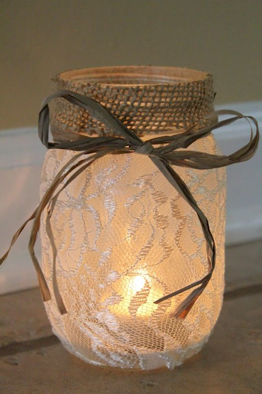 Repurposed mason jar~ romantic lace and burlap tea light