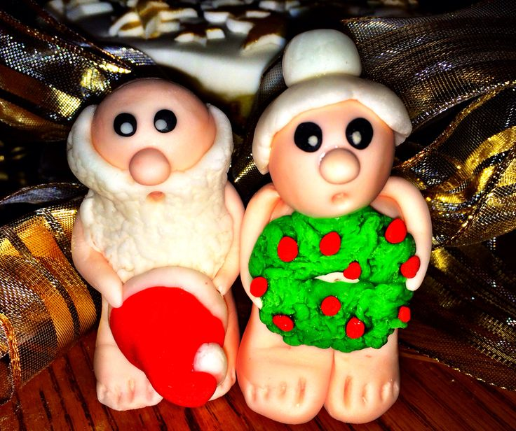 Fondant. Sugar craft. Funny Santa & Mrs. Claus Christmas cake decorations!