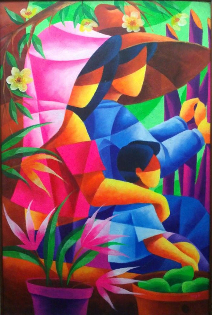 This painting is a part of our mother's day tribute to mothers and strong women around the world. This colorful oil painting, by Filipino Sey Perez, portrays a husband and wife sitting worry-free with their only son, confident and peaceful. This simple scene of solidarity reveals Perez's message: great strength emanates from family unity.    Artist: Sey Perez, Philippinnes