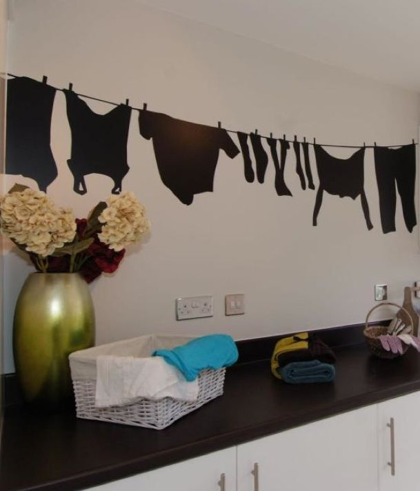David Wilson Homes - The Larches (Offenham) First prize to DWH for the most inventive laundry room design - I love the decal washing line.