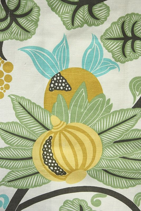 Maharani Linen Fabric A pomegrante trail design in yellow, turquoise and green printed on an off white linen