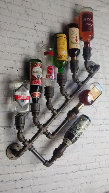 8x Industrial Wine Rack Bottle Wall Mount by DragonflyDesignPa