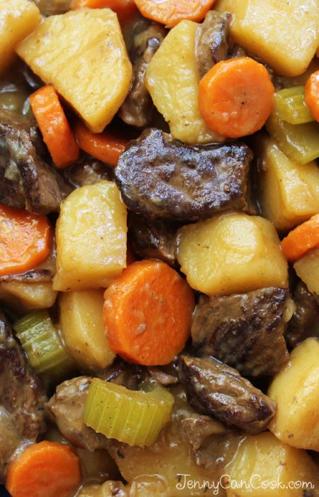 Beef Stew recipe from Jenny Jones (JennyCanCook.com) - Easy, homemade beef stew with fork-tender meat.