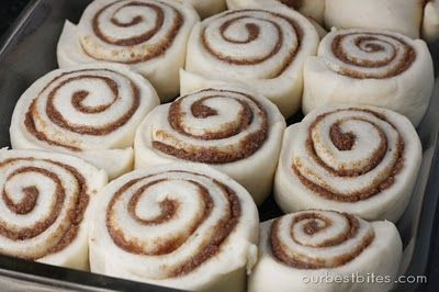 Quick, everyday cinnamon rolls!  These are baking right now.  No proofing the yeast, and just one rise!  Now there is always time for homemade rolls!  Also, I added 2 oz. of cream cheese the frosting/glaze.