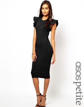 ASOS PETITE Structured Ruffle Sleeve Bodycon Dress