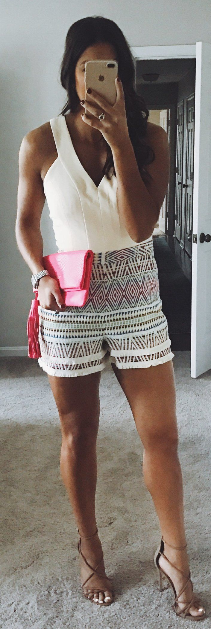 White Top / Printed Short / Brown Sandals