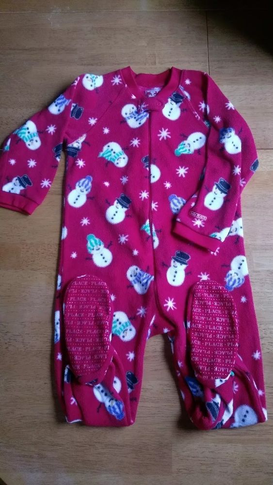 f742c0c723e4 Children s Place Red Snowman Sleeper Footed Pajamas Toddler 3T EUC ...