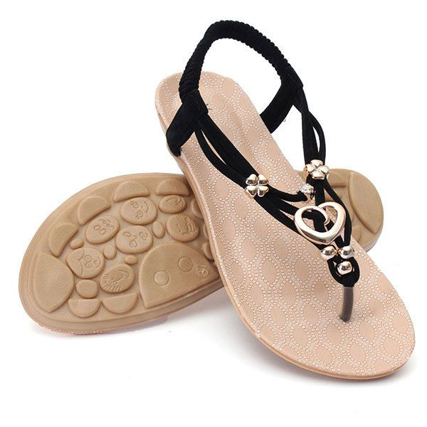 Women Summer Comfortable Flats Sandals Slip On Soft Fashion Beach Sandals Shoes - US$15.23