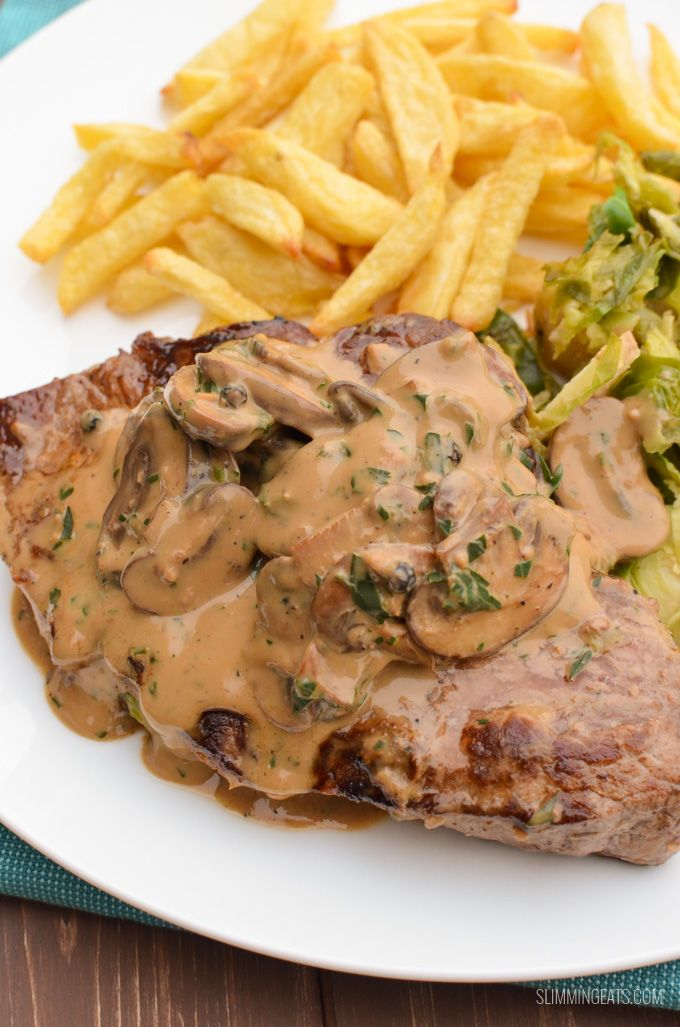 Delicious Steak with a creamy mushroom peppercorn sauce. Low syn and tastes amazing with a variety of sides of your choice.
