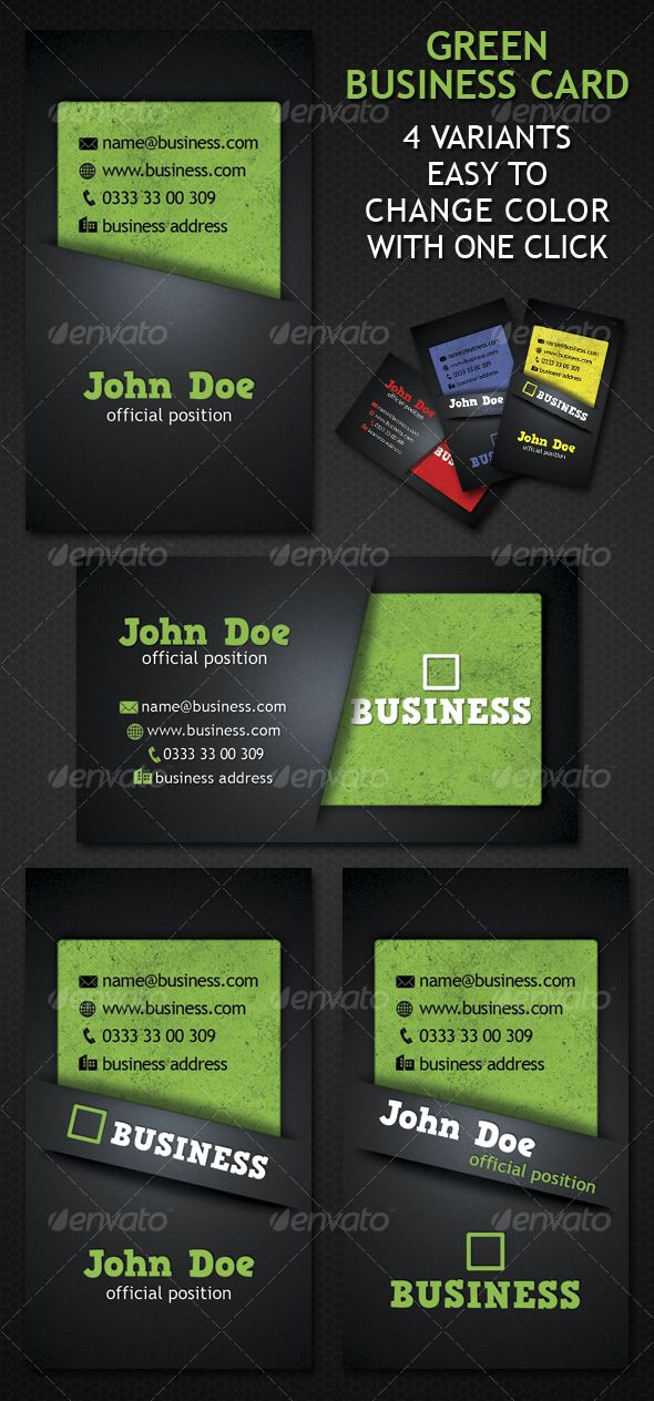 Green business cards 4 variants . Download Here : http://graphicriver.net/item/green-business-card-4-variation/88470?s_rank=4&ref=cliccme