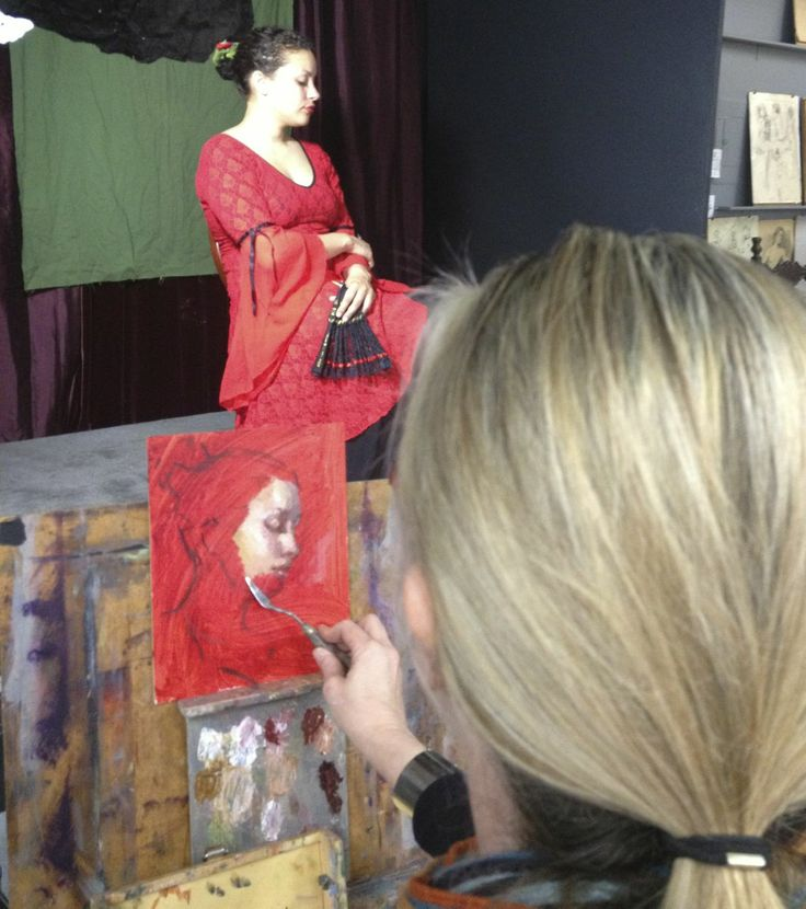 My palette knife portrait demo at The California Art Institute, Westlake Village, CA  Join me Wednesday mornings.