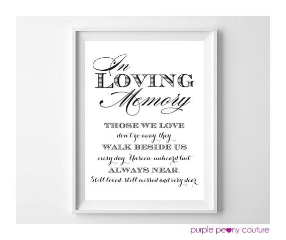 in loving memory wedding sign memorial table frame printable pdf instant download on etsy