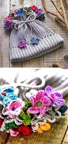Children's cap with flowers for girls | KNITTING hats: Women's hats and crochet, men's and children's hats, knitted bags