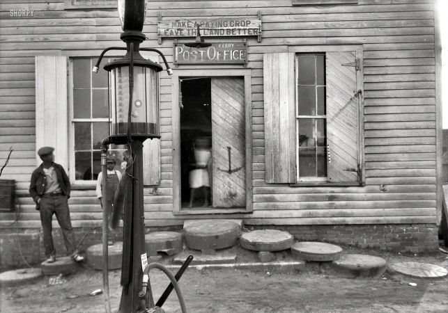 """The Old Store March 25, 1937. """"Old Henderson store (Miller's Ferry Post Office), Canton Bend near Camden, Alabama."""""""