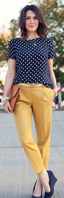 Outfit Posts: outfit post: navy polka-dot tie-neck blouse, mustard pencil skirt, nude pumps