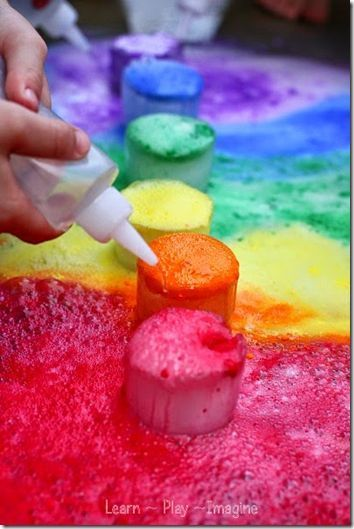 Frozen Rainbow Eruptions is such a fun science experiments for kids from toddler, preschool, kindergarten, 1st grade, 2nd grade, 3rd grade perfect for march, St. Patrick's Day activities, spring, or summer activities for kids!