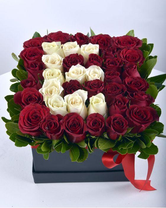 Siyah Kutuda Güller Kutuda Harfli Gül Hobi çiçek Divar