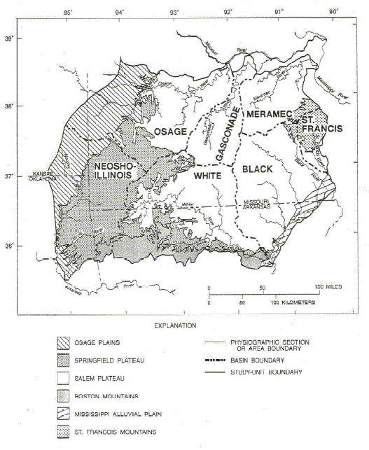 Ozark Plateaus NAWQA Home Page USGS CIRC Subpage - Ozark plateau on us map