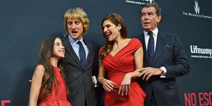Sterling Jerins, Owen Wilson, @lakebell and @PierceBrosnan at tonight's @NoEscape premiere at @RegalLALIVE