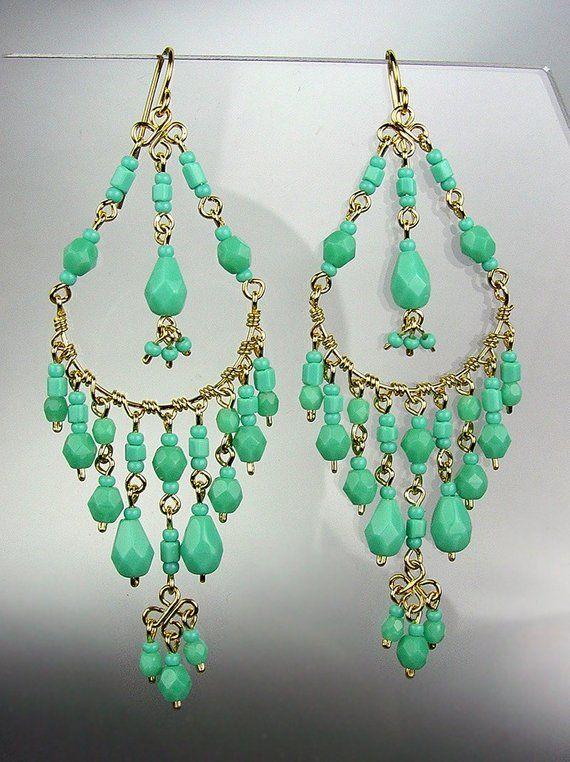 HERRLICHE Türkis Kristall Perlen Kronleuchter baumeln Ohrringe, böhmische Ohrringe, Cascading baumeln Ohrringe