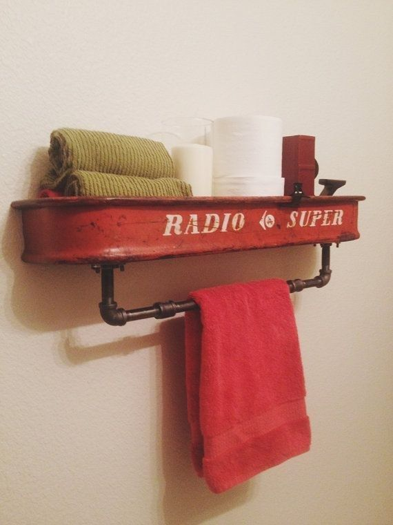 Hang this cool Radio Flyer wagon shelf. | 29 Ways To Design Your Kid's Dream Bathroom