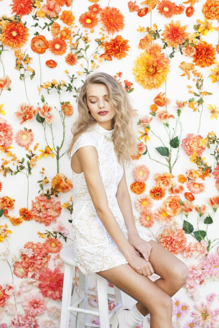 Floral backdrop made of real flowers