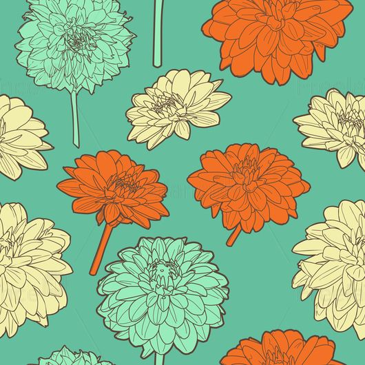 Japanese flowers pattern. Buy ready-made vector image.