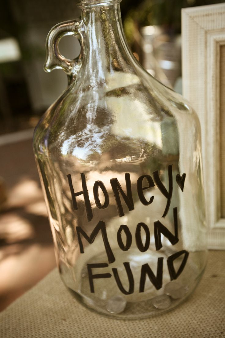 Honey moon fund jar.  Available to purchase from ie Inspired Events.