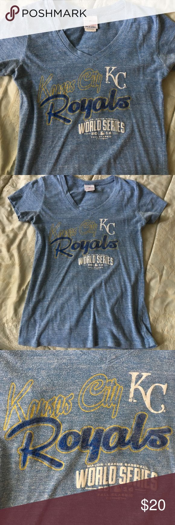 Royals World Series 2014 fall classic Tshirt Gold, blue and white print. Fitted women's shirt. 5th & Ocean Tops Tees - Short Sleeve
