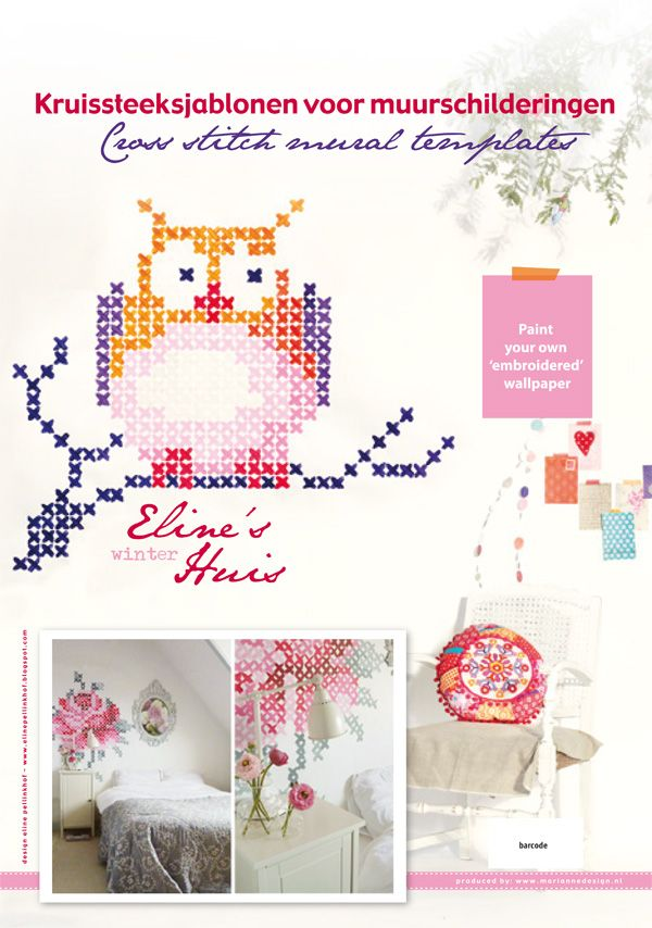 """Embroider your own wall! A great idea by Eline Pellinkhof, featured in her new book """"Eline's Winter Huis"""". I love it. I'm thinking about doing this in my daughter's room."""