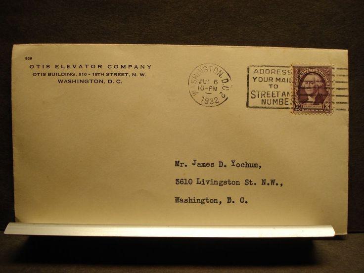 OTIS ELEVATOR Company Postal History Cover 1932 Corner Card