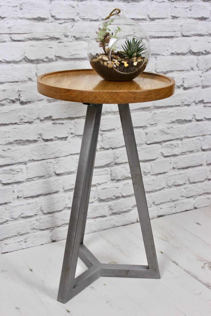 Oak And Steel Round Side Table/ End Table   Modern Industrial Chic, By  Escafell