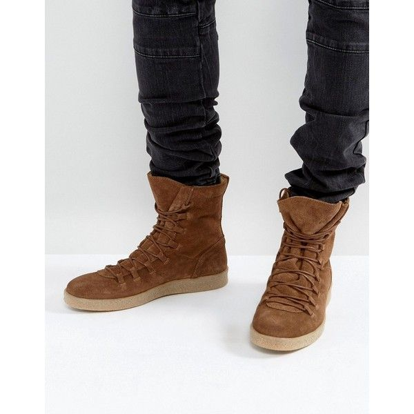 ASOS Sneaker Boots in Brown Suede (£60) ❤ liked on Polyvore featuring men's fashion, men's shoes, men's boots, brown, mens brown leather lace up boots, mens brown suede boots, mens brown boots, asos mens boots and mens pointed toe boots