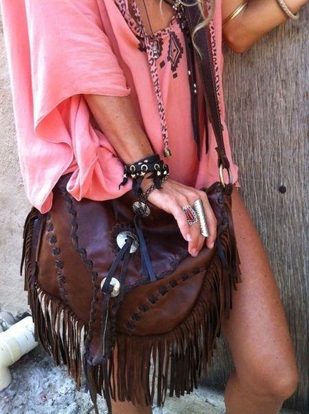 boho fringe leather purse