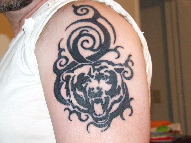 Black Ink Chicago Bears Tattoo On Left Shoulder... pretty sick