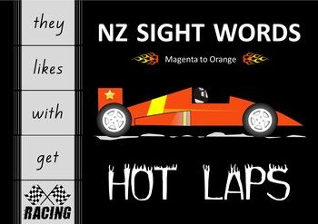 An engaging sight word activity . particularly for your boys.Build a racing track and drive a toy car along it, reading the sight words as you go. This resource contains sight words at the Magenta, Red, Yellow, Blue, Green and Orange levels of the NZ reading colour wheel.Sight words are written on a piece of racing track.