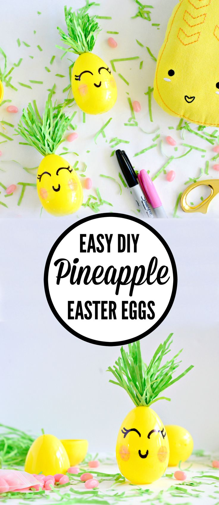 SO cute! Making these Easy DIY pineapple easter eggs from Hello Splendid