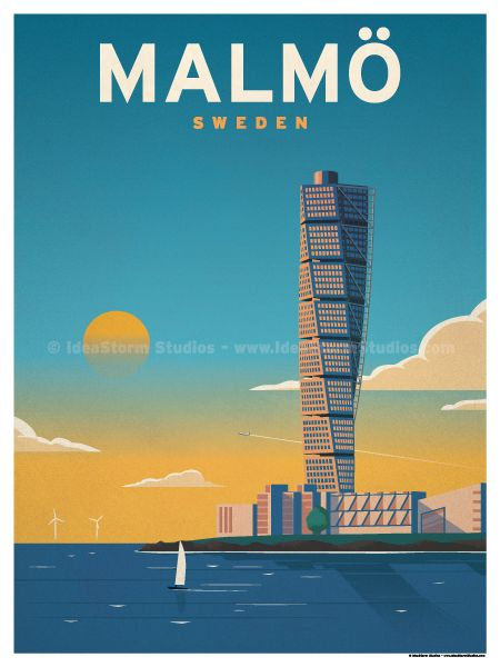 Malmö Poster by IdeaStorm Studios ©2017. Available for sale at ideastorm.bigcartel.com