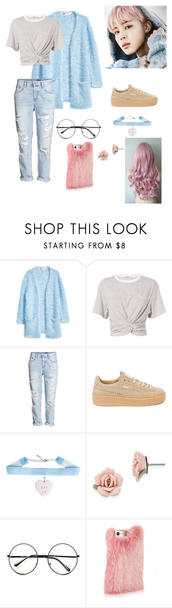 """Jimin casual outfit ( spring day )"" by bts4ever02 ❤ liked on Polyvore featuring H&M, T By Alexander Wang, Puma, 1928 and Retrò"