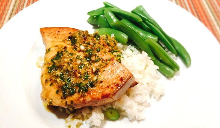 Pan-Seared Swordfish in a Lemon-Garlic-Basil-Butter Sauce
